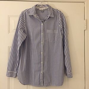 Old Navy blue and white stripe button down shirt